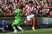 Joseph Mills and Jacob Maddox during the EFL Sky Bet League 2 match between Forest Green Rovers and Cheltenham Town at the New Lawn, Forest Green, United Kingdom on 20 October 2018.
