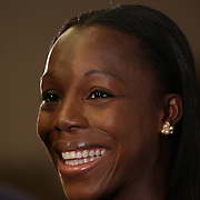 Veronica Campbell-Brown, Jamaica, talking with the media at the Adidas Grand Prix Press Conference, Hyatt Grand Central, New York ahead of he Adidas Grand Prix at Icahn Stadium, Randall's Island. Manhattan, New York. 23rd May 2012. Photo Tim Clayton