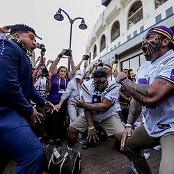 Nov 3, 2018; Baton Rouge, LA, USA; LSU Tigers defensive end Breiden Fehoko (left) performs a traditional Haka dance with his father Vili Fehoko and brother Sam Fehoko prior to kickoff against the Alabama Crimson Tide at Tiger Stadium. Mandatory Credit: Derick E. Hingle-USA TODAY Sports