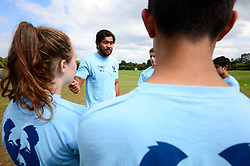 Steven Luatua visits the Bristol Bears Community Foundation Summer Holiday Camp at Old Bristolians RFC - Mandatory by-line: Dougie Allward/JMP - 15/08/2018 - Rugby