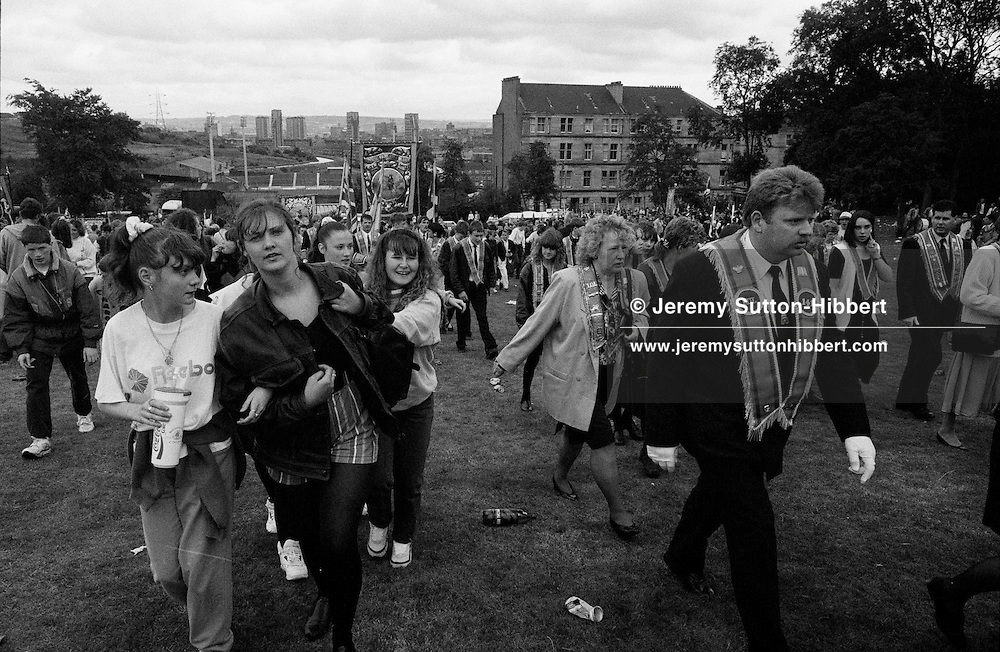 Orange Walk parade in Ruchill district of Glasgow, Scotland, 10th July 1993.