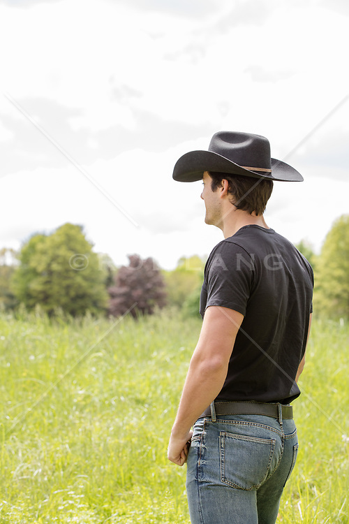 cowboy looking at a field
