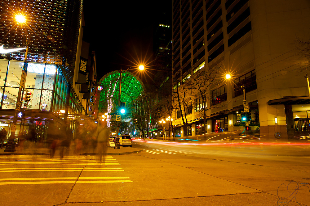 Crossing 6th Ave at Pike St in the heart of downtown Seattle.