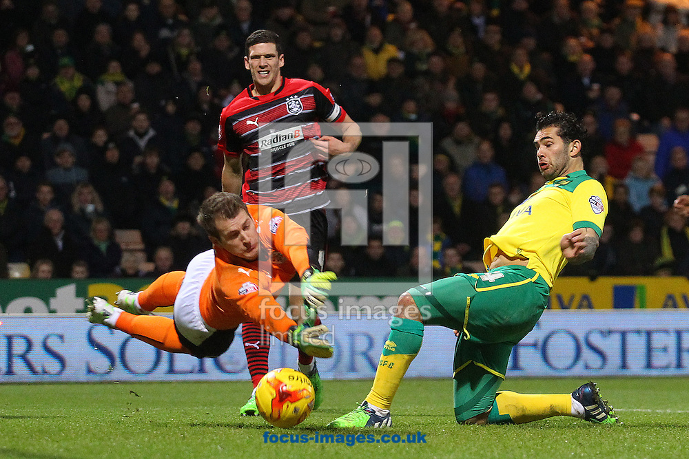 Bradley Johnson of Norwich scores his sides 1st goal during the Sky Bet Championship match at Carrow Road, Norwich<br /> Picture by Paul Chesterton/Focus Images Ltd +44 7904 640267<br /> 13/12/2014