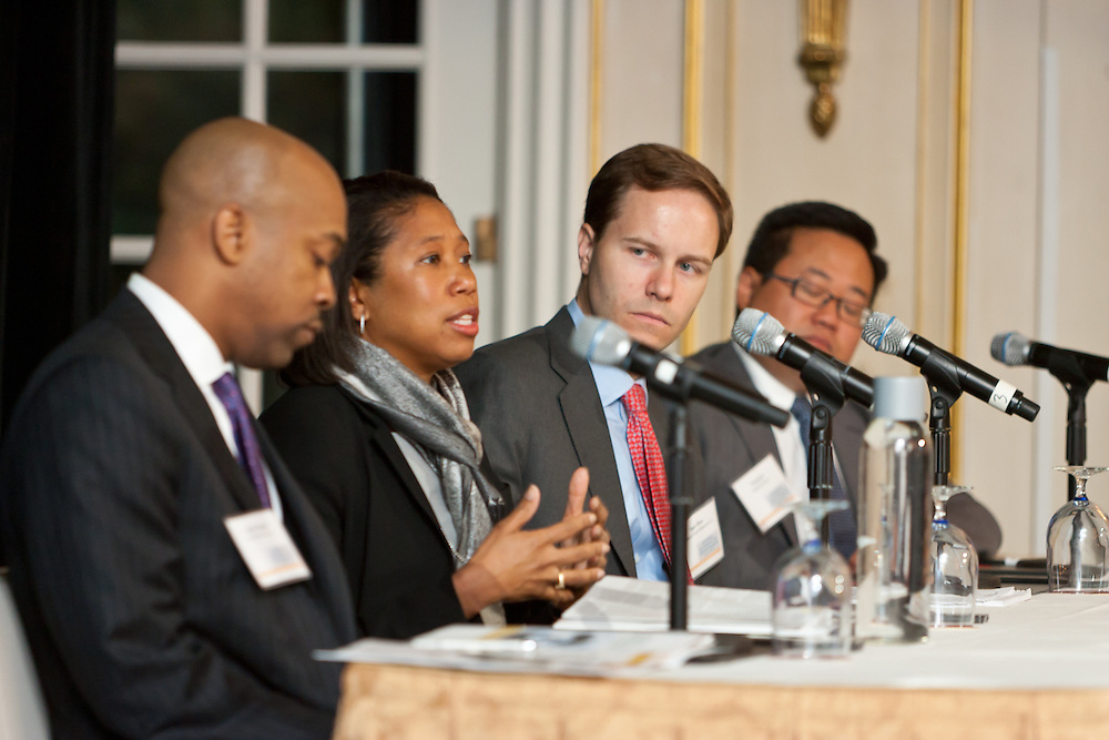 Kim Lew, Director of Investments, Carnegie Corporation of New York on a panel discussion at the SEO 2nd Annual Alternative Investment Conference held May 17, 2011 at the Essex House Hotel in New York. Organized by Sponsors for Educational Opportunity (SEO), the conference is part of SEO's Alternative Investments Program, which includes the Alternative Investment Fellowship Program (AIFP), an initiative launched in 2009.  The AIFP is an educational program for young professionals from backgrounds traditionally underrepresented in the alternative investments industry.  The AIFP combines workshops, training and mentoring to strengthen Fellows as candidates for positions in private equity and other alternative investments.  The program also improves Fellows' skills as analysts by exploring strategic decisions involved in transactions from the client's point of view.