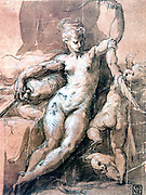 Venus Disarming Love', Pen, ink and wash on paper. Francesco Mazzuoli called Il Parmigiano (1503-1540) Italian painter.  Venus, Roman goddess of love and beauty, snatching his bow from a protesting Cupid.  Nude