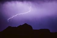 Cloud-to-cloud, lightning over the Mesa at Otowi Ruin, © 1983 David A. Ponton