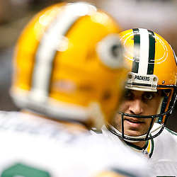 Oct 26, 2014; New Orleans, LA, USA; Green Bay Packers quarterback Aaron Rodgers (12) before a game against the New Orleans Saints at the Mercedes-Benz Superdome. Mandatory Credit: Derick E. Hingle-USA TODAY Sports