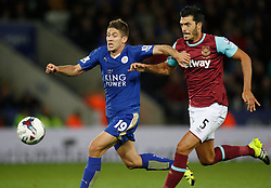 Andrej Kramaric of Leicester City (L) and James Tomkins of West Ham United in action  - Mandatory byline: Jack Phillips/JMP - 07966386802 - 22/09/2015 - SPORT - FOOTBALL - Leicester - King Power Stadium - Leicester City v West Ham United - Capital One Cup Round 3