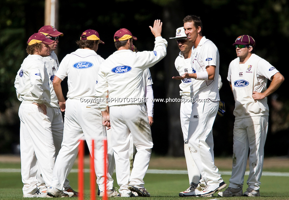 Brent Arnel is congratulated by his Northern Knights team mates after the wicket of Todd Astle during play on day three. Canterbury Wizards v Northern Knights, Plunket Shield Game held at Mainpower Oval, Rangiora, Wednesday 06 April 2011. Photo : Joseph Johnson / photosport.co.nz