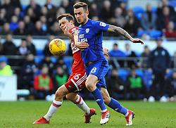 Joe Ralls of Cardiff City battles with Jonathan Howson of Middlesbrough- Mandatory by-line: Nizaam Jones/JMP - 17/02/2018 -  FOOTBALL - Cardiff City Stadium - Cardiff, Wales -  Cardiff City v Middlesbrough - Sky Bet Championship