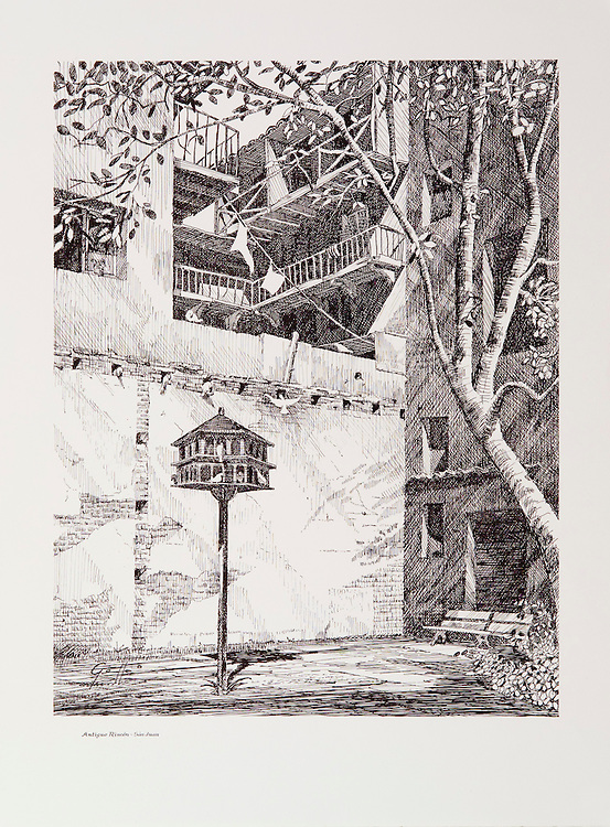 Cat. # 26 - Lithographic print of Pen and Ink drawing of &quot;Parque de las Palomas&quot; in Old San Juan, Puerto Rico. This small and old park is adjacent to &quot;Capilla del Cristo&quot; and has a magnificent view of San Juan Bay. This print is printed on smooth, heavy weight stock.<br />