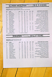 07 January 2017:  roster during an NCAA men's division 3 CCIW basketball game between the Wheaton Thunder and the Illinois Wesleyan Titans in Shirk Center, Bloomington IL