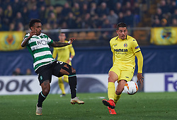 February 21, 2019 - Villarreal, Castellon, Spain - Pablo Fornals of Villarreal CF and Marcus Wendel Valle da Silva of Sporting Lisboa during the UEFA Europa League Round of 32 Second Leg match between Villarreal and Sporting Lisboa at Estadio de La Ceramica on February 21, 2019 in Vila-real, Spain. (Credit Image: © AFP7 via ZUMA Wire)