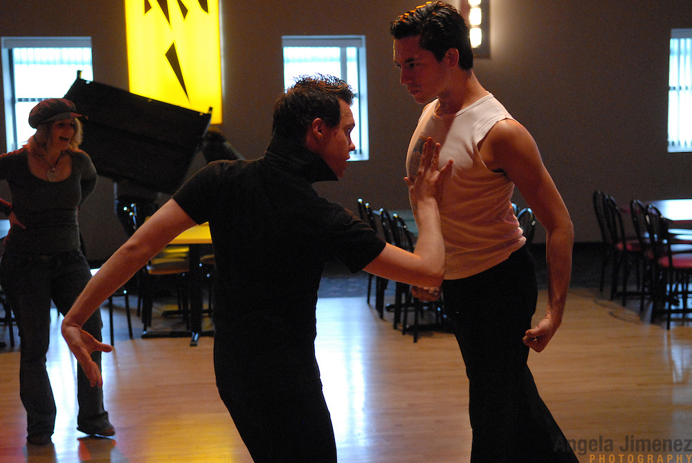 Champion opposite sex dancer and instructor Diana McDonald, left, coaches same-sex dancers Jean-Francois Fortin, center, of Montreal, Canada and Willem Alexander, of Jersey City in the paso doble at Rogers DanceSport Center International in Fairfield, New Jersey on April 27, 2007, in preparation for the couples' participation in the 5 Boro Dance Challenge same-sex ballroom dance competition. ..The locally produced 5 Boro Dance Challenge, New York City's first same-sex dance competition, was held at the Park Central Hotel in Manhattan from May 4-6, 2007. ..Fortin and Alexander placed second in the men?s latin A categroy and won the paso doble in the competition...