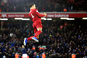 Liverpool defender Virgil van Dijk (4) during the Premier League match between Liverpool and Everton at Anfield, Liverpool, England on 4 December 2019.