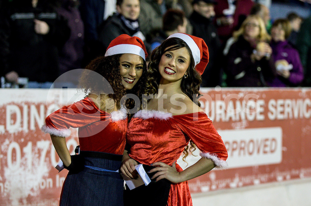 Xmas girls entertain the spectators during the Sky Bet League 2 match between Southend United and Burton Albion at Roots Hall, Southend, England on 19 December 2014. Photo by Liam McAvoy.