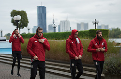 VIENNA, AUSTRIA - Thursday, October 6, 2016: Wales' Gareth Bale with, Andrew Crofts and Joe Ledley during a pre-match walk at the Hilton Danube Waterfront Hotel ahead of the 2018 FIFA World Cup Qualifying Group D match against Austria. (Pic by Peter Powell/Propaganda)