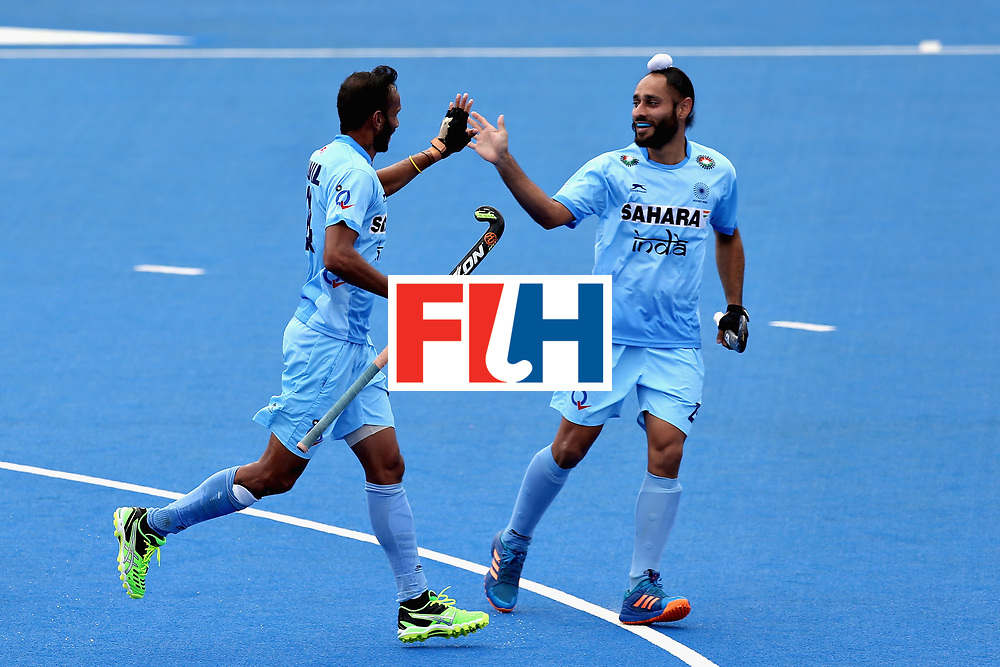 LONDON, ENGLAND - JUNE 17:  Sunil Sowmarpet of India celebrates scoring the first goal for India during the Hero Hockey World League Semi Final match between Canada and India at Lee Valley Hockey and Tennis Centre on June 17, 2017 in London, England.  (Photo by Alex Morton/Getty Images)