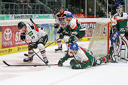12.12.2014, Curt Fenzel Stadion, Augsburg, GER, DEL, Augsburger Panther vs Koelner Haie, 26. Runde, im Bild l-r: im Zweikampf, Aktion, mit Marcel Ohmann #37 (Koelner Haie), Arvids Rekis #37 (Augsburger Panther) // during Germans DEL Icehockey League 26th round match between Augsburger Panther vs Koelner Haie at the Curt Fenzel Stadion in Augsburg, Germany on 2014/12/12. EXPA Pictures © 2014, PhotoCredit: EXPA/ Eibner-Pressefoto/ Kolbert<br /> <br /> *****ATTENTION - OUT of GER*****