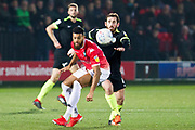 Salford City forward Jake Jervis Macclesfield Town midfielder Jak McCourt going for the ball  during the EFL Sky Bet League 2 match between Salford City and Macclesfield Town at the Peninsula Stadium, Salford, United Kingdom on 23 November 2019.