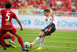 BANGKOK, THAILAND - Sunday, July 28, 2013: Liverpool's Philippe Coutinho Correia scores the first goal against Thailand XI during a preseason friendly match at the Rajamangala National Stadium. (Pic by David Rawcliffe/Propaganda)