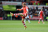 Southampton's  Luke Shaw in action. Barclays Premier league match, Swansea city v Southampton at the Liberty stadium in Swansea, South Wales on Saturday 3rd May 2014.<br /> pic by Andrew Orchard, Andrew Orchard sports photography.