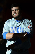Aug 12, 2017; Phoenix, AZ, USA; Chicago Cubs outfielder Kyle Schwarber (12) smiles in the dugout during the game against the Arizona Diamondbacks at Chase Field. Mandatory Credit: Jennifer Stewart-USA TODAY Sports