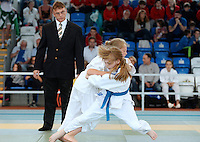 21 Aug 2016:  Ali O'Donoghue (white belt), Kerry, in action against Chloe McCann (blue belt), Derry.  Judo Girls 35kg U16.  2016 Community Games National Festival 2016.  Athlone Institute of Technology, Athlone, Co. Westmeath. Picture: Caroline Quinn
