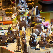 Chocolate Easter Bunnies on display in a chocolate shop window in historic Bruges, Belgium. The region is famous for the quality of its chocolate, and downtown Bruges has many chocolatiers.