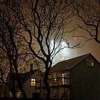 Houses in 101 Reykjavík, Iceland. Foggy mood, bare treebranches in foreground and lights from a building site in background. Hús við Lindargötu í Reykjavík. Turn í skuggahverfi í baksýn. Þoka að morgni í janúar.