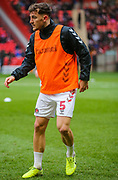 Charlton Athletic defender Tom Lockyer (5) warms up prior to the EFL Sky Bet Championship match between Charlton Athletic and Blackburn Rovers at The Valley, London, England on 15 February 2020.