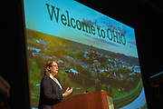 Elizabeth Sayrs, University College Dean and Vice Provost, delivers welcomes students and parents at Bobcat Student Orientation. Photo by Ben Siegel