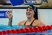Sophie Pascoe of New Zealand after winning Gold in the Women's 50 m Freestyle S9 during the World Para Swimming Championships 2019 Day 7 held at London Aquatics Centre, London, United Kingdom on 15 September 2019.