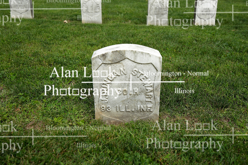 26 August 2017:   A part of the History of McLean County Illinois.<br /> <br /> Tombstones in Evergreen Memorial Cemetery.  Civic leaders, soldiers, and other prominent people are featured. Section 5, the old town soldiers area<br /> J Duncan Stewart  Co H  93 ILL INF