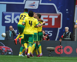 Norwich Celebrate their First goal, by Cameron Jerome, Middlesbrough v Norwich, Sky Bet Championship, Play Off Final, Wembley Stadium, Monday  25th May 2015