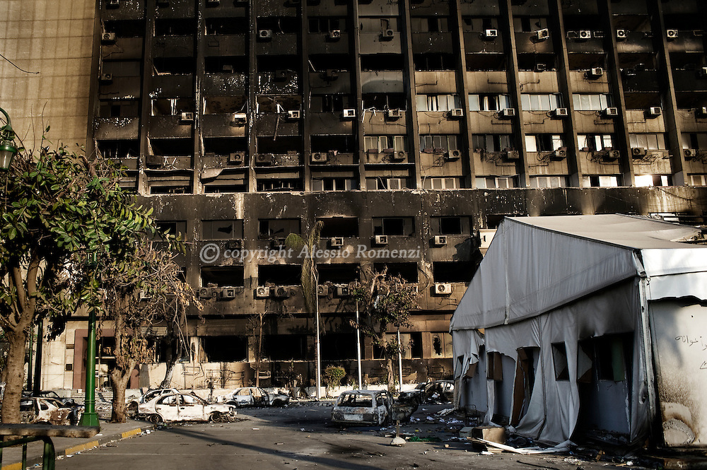 The burned government building palace on Tahrir square in Cairo on February 2, 2010.© ALESSIO ROMENZI