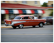 Vintage American car at speed, Havana, Cuba