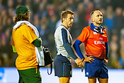 Greig Laidlaw (#9) (Clermont Auvergne) of Scotland and French referee Romain Poite watch the TMO replay during the Autumn Test match between Scotland and South Africa at the BT Murrayfield Stadium, Edinburgh, Scotland on 17 November 2018.