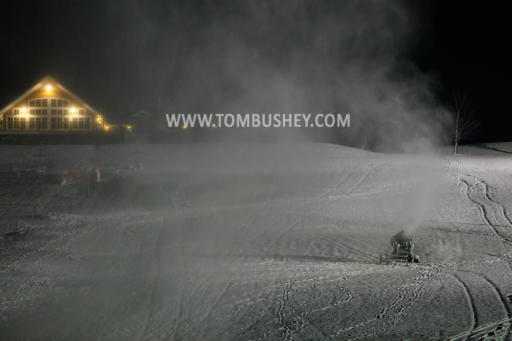 Hamptonburgh, NY -  Snow machines make snow on the snow-tubing hill at Thomas Bull Memorial Park on Dec. 7, 2009.