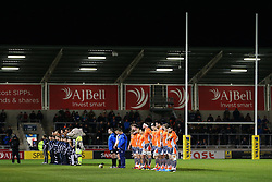 Newcastle Falcons and Sale Sharks players hold a minutes silence before the match - Mandatory by-line: Matt McNulty/JMP - 10/02/2017 - RUGBY - AJ Bell Stadium - Sale, England - Sale Sharks v Newcastle Falcons - Aviva Premiership