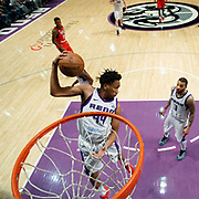 Reno Bighorns Forward LUIS MONTERO (44) pulls down a rebound during the NBA G-League Basketball game between the Reno Bighorns and the Raptors 905 at the Reno Events Center in Reno, Nevada.