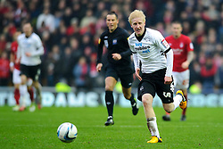 Derby Midfielder Will Hughes (ENG) breaks during the second half of the match - Photo mandatory by-line: Rogan Thomson/JMP - Tel: Mobile: 07966 386802 19/01/2013 - SPORT - FOOTBALL - Pride Park - Derby. Derby County v Nottingham Forest - npower Championship. The meeting of these two local sides is known as the East Midlands Derby with the winner claiming the Brian Clough Trophy.