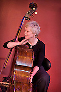 Bassist Alison Rayner on the double bass from the Deirdre Cartwright group during a performance in 2008 in the frontroom of the Southbank center in London.