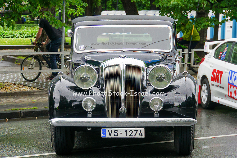 Daimler DE27 Classic car on display at the start of the Riga to Mykonos Gumball 3000 Rally, Riga, Latvia
