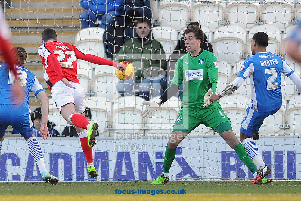 Anthony Forde of Walsall scores his sides first goal to make the scoreline 1-0 during the Sky Bet League 1 match between Colchester United and Walsall at the Weston Homes Community Stadium, Colchester<br /> Picture by Richard Blaxall/Focus Images Ltd +44 7853 364624<br /> 17/01/2015