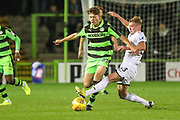 Forest Green Rovers Jordan Stevens(35) is tackled by Swansea City's Adam King during the EFL Trophy match between Forest Green Rovers and U21 Swansea City at the New Lawn, Forest Green, United Kingdom on 31 October 2017. Photo by Shane Healey.