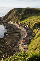 View of small historic village of Crovie on coast of Aberdeenshire in Scotland