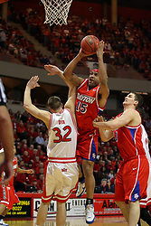 24 March 2008: Levi Dyer attempts an awkward block of Charles Little.  The Flyers of Dayton defeated the Redbirds of Illinois State 55-48 on Doug Collins Court inside Redbird Arena in Normal Illinois.