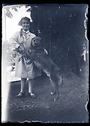 woman with pet dog France circa 1930s
